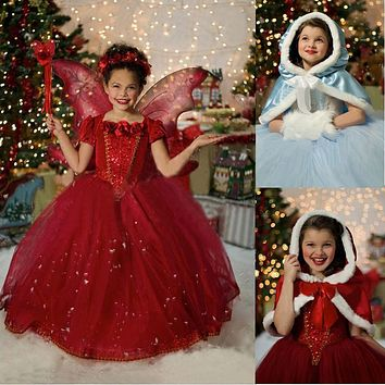Fluffy Baby Evening Party Dress Children Kids Halloween Cosplay Costume Red Hooded Toddler Girls Tutu Dresses Roupa For Child