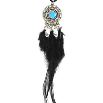 Dreamcatcher Feather Necklace Black Blue Beaded Silver Tone NP22 Faux Leather Native American Style