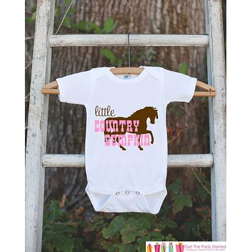 Little Country Bumpkin Bodysuit For Baby Girls - Pink and Brown Western Onepiece - Horse Novelty Onepiece Baby Shower Gift for New Baby Girl
