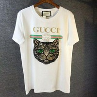 DCCK7XP GUCCI Women Loose Cat Embroidery Sequin T-Shirt White