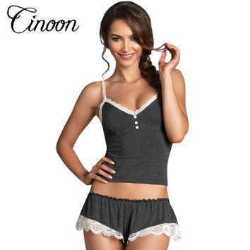 Sexy Pijamas Camisole & Panties Sets V-Neck Cotton Bundle Pajamas Women's Sleepwear Spaghetti strap lace Underwear