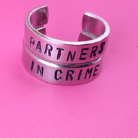 Partners in Crime- Aluminum Hand Stamped Ring Set- Best Friend Ring Gift Set