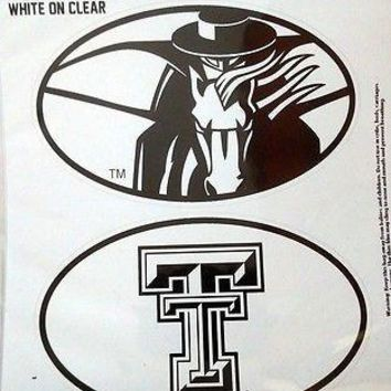 Texas Tech Red Raiders 2-Pack EURO STYLE Vinyl Oval Home Auto Decals University
