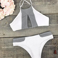 Made the Cut Stripe Splicing Bikini Set