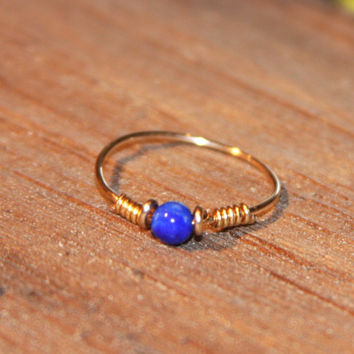 Custom Gold Stone Ring, Thin Ring, Lapis Ring Handmade, Thin Knuckle Ring, Wire Wrap Ring, Gold Thin Ring, stacking Ring
