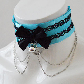 Kitten play collar - Turqoise symphony - bdsm proof blue and black pleated choker - ddlg kittenplay pet play neko kawaii cosplay costume