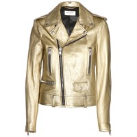 Metallic-leather biker jacket