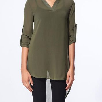 Casual Split Neck Plain roll-up sleeve dip hem blouse
