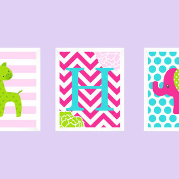 Monogram Letter First Initial, Pink Green and Aqua, CUSTOMIZE YOUR COLORS, 8x10 Prints, set of 3, nursery decor nursery print art baby decor