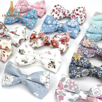 Fashion New Floral Bow Ties Cotton Printed Bowtie Neckties For Men Wedding Party Business Suits Gravata Slim Butterfly Cravat