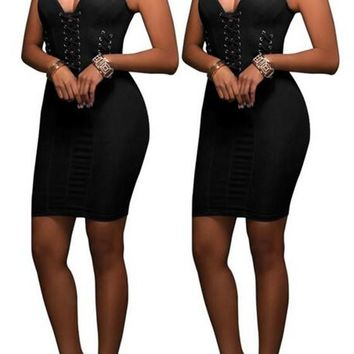 Black Plain Cut Out Zipper Backless Sleeveless Bodycon Denim Mini Dress
