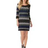 Laundry By Shelli Segal Wool Blend Lurex Stripe Sweater Dress
