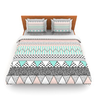 "Vasare Nar ""Chevron Motif"" Pink Teal Fleece Duvet Cover"