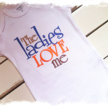Boys Applique Bodysuit-Embroidered Saying One Piece-The Ladies Love Me-Baby Boys Clothes-Baby Shower Gift