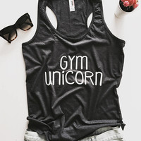 gym unicorn racerback tank top hot yoga gym fitness work out fashion cute gift funny saying sport tops