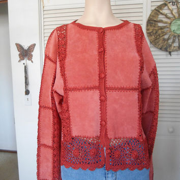 Red Suede Crocheted Vintage Size XL Womens Jacket Coat Hippie boho gypsy style clothes clothing bohemian gypsy cowgirl glam festival