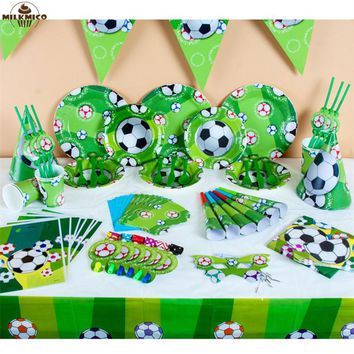 90pcs/lot Football Theme Birthday Party Tableware Set Napkin Cups Tablecloth Flag Straw Kids Favor World Cup Party Decoration