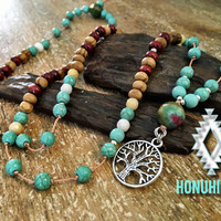 Tree of Life beaded necklace. Boho hippie jewelry