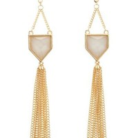 Ivory Dangling Faceted Stone Tassel Earrings by Charlotte Russe