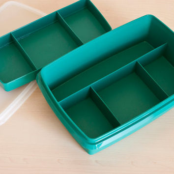 Teal Tupperware Tuppercraft Stow n Go Box, Beads Jewelry Organizer, Divided Hobby Container