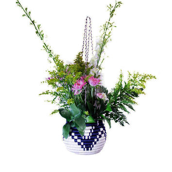 Indego Africa Navy Sweetgrass Hanging Basket