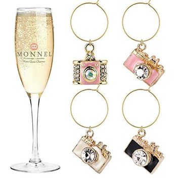 P410 Cute Crystal Pink White Camera Wine Charms Glass Marker for Party with Velvet Bag Set of 4