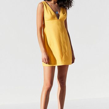 UO Breezy Plunging Linen Mini Dress | Urban Outfitters
