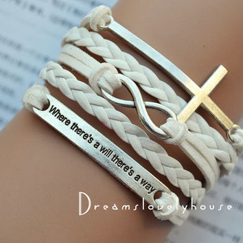 Christmas gift, Silvery Cross Infinity Charm Bracelet, White Braided leather cord