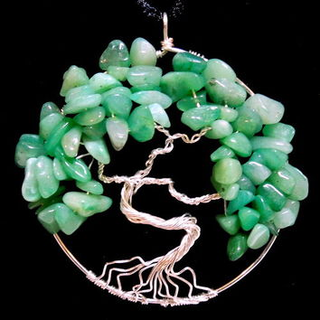 Silver Plated Tree of Life Necklace with Green Aventurine on Silk Cord