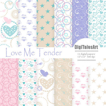 "Hearts digital paper ""Love Me Tender"" digital clip art papers in pink, blue, patterns, download, hearts background"