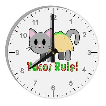 "Tacos Rule Taco Cat Design 8"" Round Wall Clock with Numbers by TooLoud"