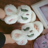 Kawaii Embroidery Rabbit Big Ear Anime Plush Slippers Lolita Soft Sister Girl Faux Fur Shoes Cosplay Costume Bunny Flat Sandals
