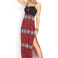 FOREVER 21 Adventurer Slit Maxi Dress Black/Red Large