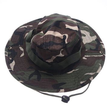 Bucket Hat Fishing Hunting Boonie Cap Unisex Military Camo Wide Brim Outdoor Cap Accessories Military Army American Military Men