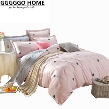GGGGGO HOME,4pcs bedding set 100% cotton fabric Dandelion print duvet cover set king/queen/full/twin size duvet cover/bed sheet