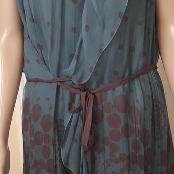 Alberta Ferretti Silk Blue Polka Dot Dress sz 14