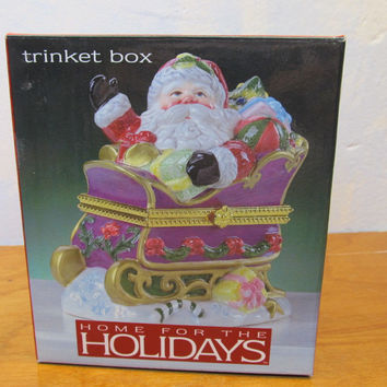 PORCELAIN SANTA TRINKET BOX MADE IN CHINA