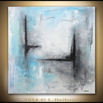 Original abstract painting contemporary art chalky white blue 24 x 24 mixed media abstract art by L.Beiboer
