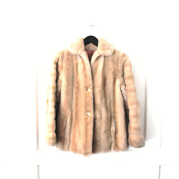 small blonde FAUX fur coat 1970s vintage RETRO fake fur winter coat