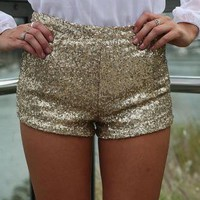 Gold Sequin Stretch Mini Shorts
