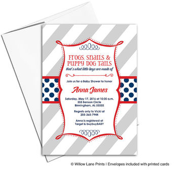 Unique baby shower invitation for boys | red, blue, navy baby shower invites | little boys are made of | printable or printed - WLP00782