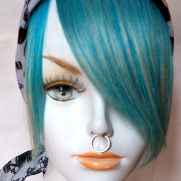Aqua Blonde Turquoise Teal Green Blue 100% Human Hair Clip in Bang Fringe Hair Extension