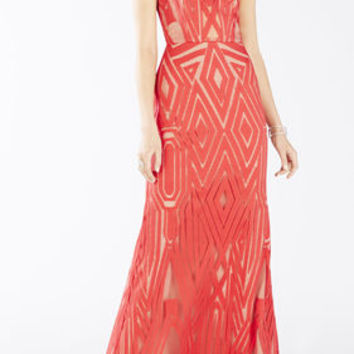Red BCBG Veira Sleeveless Geometric Lace Gown