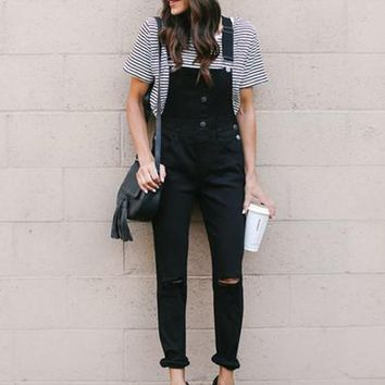 Black Pockets Cut Out Buttons Elastic Waist Fashion Long Jumpsuit