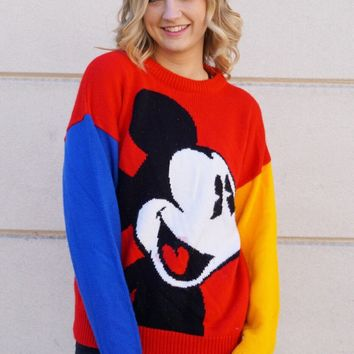 Mickey Color Block Sweater