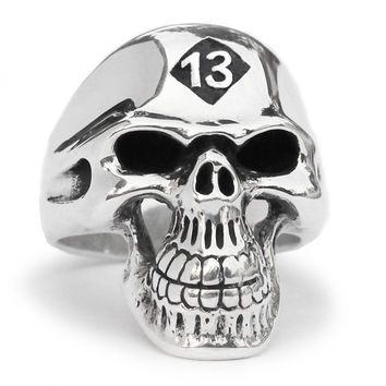 13 Outlaw Biker Skull Ring Grim Reaper in Sterling Silver 925