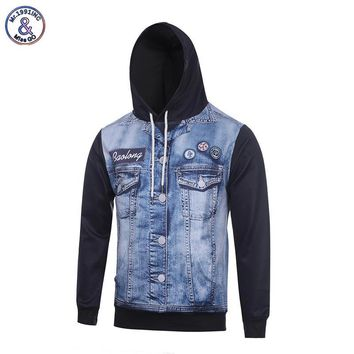 Mr.1991INC Europe America Men/women 3d Sweatshirts With Hat Print Jeans Jacket Autumn Winter Thin Hooded Hoodies Tops Hoody