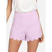 Scallop Hem Tailored Shorts