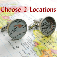 Vintage Map Cufflinks Sterling Silver Round You by dlkdesigns