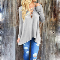 Plus size Autumn New Products V-neck Cross Sexy T-Shirt Women Hollow Irregular Hooded T shirts Casual Loose Womens Clothing Tops